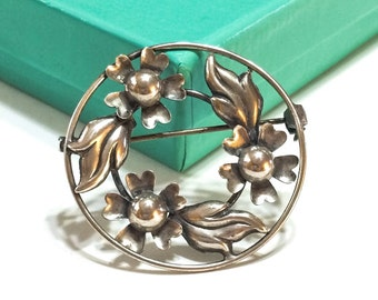 Art Nouveau Brooch, Sterling Silver Pin, Dogwood Flower Pin, Signed Lang, 1940s, Retro Jewelry, Vintage Jewelry