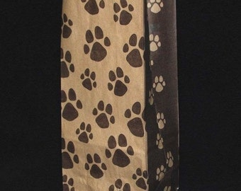"25 Paw Print Gusset Paper Bags ..10"" x 5"" x 3 - Dog / Cat Party bags"