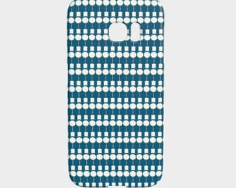 Teal Mid Century Phone Cover, Unique iPhone Case, Galaxy S7 Edge Protective Cover, Silhouette Topiary Pattern Phone Case, Slim Hard Case