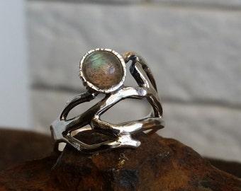 HOLIDAY SALE - Silver twig ring , stacking ring , nature ring , labradorite ring , branch ring , Botanical Jewelry  , israeli design
