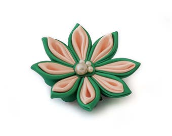 Satin Kanzashi Flower hair accessory or brooch