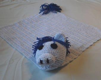 Crocheted Light Blue Amigurumi horse blanket/lovey