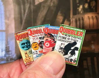 Quibbler, Magazines, 4,Dollhouse, Miniature, Harry, Potter, Hogwarts, Students, Books, News, Wizard, 1/12 scale