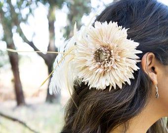 Flower Clip - Feather Hair Clip - Belly Dance Headdress - Tribal Belly Dance - Flower Head Piece - Cream Flower Clip - Belly Dance Jewelry