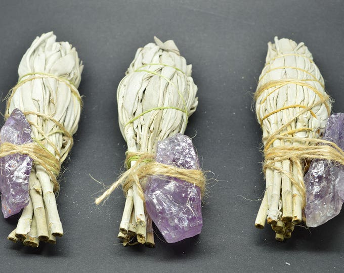 Featured listing image: Smudge Kit California White Sage & Amethyst Rough - WSAME02