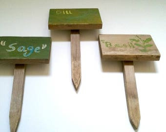 Vintage Wooden Garden Stakes Hand Painted Great Gardener Gift Sage, Basil, Dill