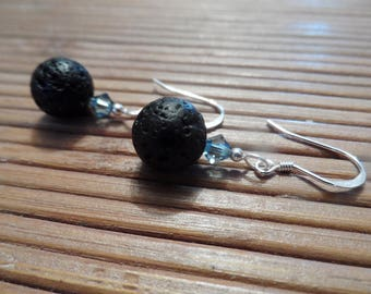 Lava stone and Swarovski crystal earrings