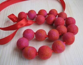 Felted merino wool balls necklace, Handmade.