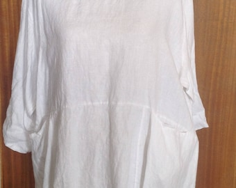 Linen tunic top, relaxed fit 100% linen tunic