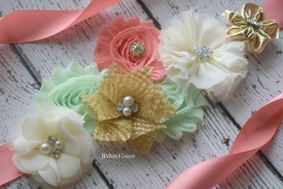 Flower Sash, ivory gold mint  coral Sash , flower Belt, maternity sash, flower girl sash, baby shower sash