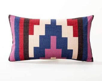 "Decorative  Pillow cover, Aztec Geometric printed cotton linen cushion cover/throw pillow cushion shell 12x20"""