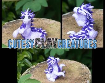 Lilac Dapper Dragon handmade polymer clay figure OOAK