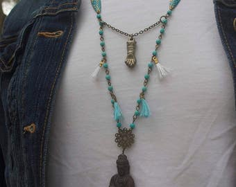 Reduced! Give me Zen Necklace with Tassels, Buddha & Figa Hand