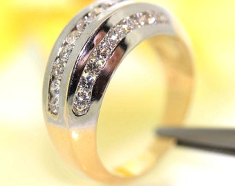 18k Yellow Gold Natural Round VS-1 Diamond Channel set ring band 1.50ctw VIDEO<-