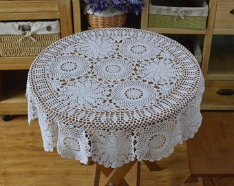 """Approx. 41"""" inches Round tablecloth, country living style table cover, hand crochet tablecloths, lace table topper for home decor"""