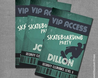 Skateboard VIP Access Cards Personalized Skateboarding Party Favors VIP Access Cards Skater Party Name Tags Skateboarding Party Boy Teen