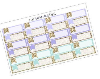Labels / Summer Blues / Glitter Labels / Planner Stickers