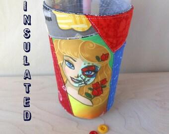 Sleeping Beauty coffee sleeve, Aurora Day of the Dead drink cozy, Disney Princess Dia de los Muertos, insulated fabric cup cuff
