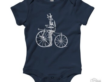 Baby Bicycle Bone Shaker Romper - Infant One Piece - NB 6m 12m 18m 24m - Cycling Shirt, Bike Creeper, Kids Bicycle - 16 Colors