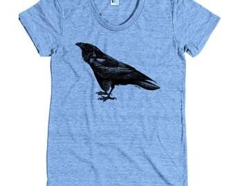 Women's Raven Tee - S M L XL Ladies - Black Print, American Apparel T shirt, Raven Shirt, Raven Tee, Birds, Crow Shirt, Horror - 15 Colors