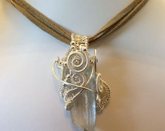 Wire wrapped Clear quartz point necklace with suede cord