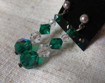 Sterling silver post earrings with Green and Clear Swarovski Crystal