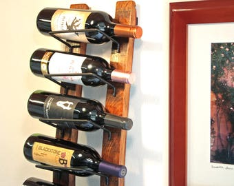 Wall Wine Rack from Retired Wine Barrels, 8 Bottle Display