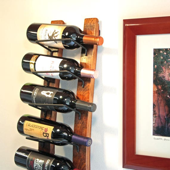Wall Wine Rack, Barrel Stave Wall Wine Rack made from reclaimed Wine Barrel Holds 8 Bottles