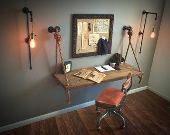Set of 3 Tall Plug-In/Hardwired SCONCES - Industrial Black Iron Metal Pipe Lights + FREE Filament Bulbs!!