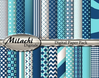 60% OFF SALE Aquamarine and Midnight Blue Digital Paper Pack, Scrapbook Papers, Commercial Use - Instant Download - M122