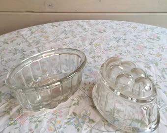 Vintage Glass Jelly moulds x2