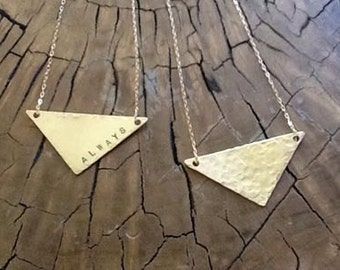 """Gold fill Triangle necklace 18"""" (Hammered Gold) Minimalist Jewelry By Chris Bolton"""