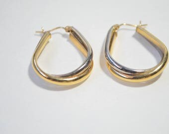 Vintage 14K Yellow White Gold Two Tone Large  Oval Hoop Earrings