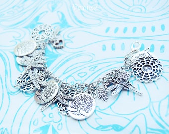 Boho charms bracelet/bohemian bracelet/tree of life bracelet/tree of life jewels/hippie bracelet/gypsy bracelet/heart bracelet/gift for her