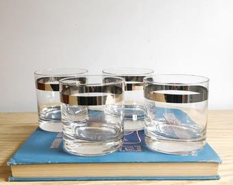 Mid Century Silver Rim Glasses, Set of Four