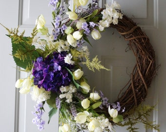 Spring Wreath,Purple Real Touch Hydrangea White Tulips Fern Wreath Large Wreath