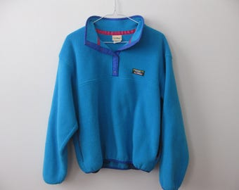 Vintage LL Bean Fleece Snap pullover Womens Medium Large aqua