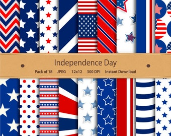 Independence Day Digital Paper: Patriotic America Fourth of July Stars & Stripes 4th of July USA - for scrapbooking invitations cardmaking