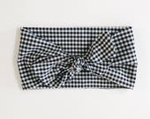 Navy Blue and White Gingham Check Wrap Headband with Adjustable Bow