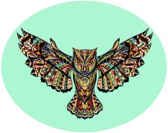 sunc69l Large glass sun catcher owl2