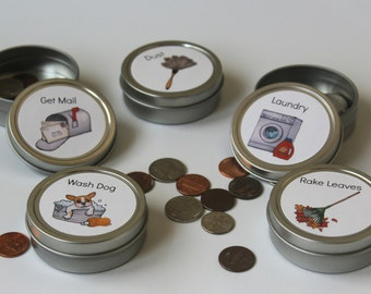 20 Custom Magnetic Chore Tins / Changeable Magnets / Images & Text / Chore Tins / Chore Magnets / Chore Charts /