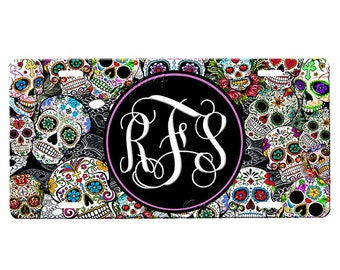Monogrammed Sugar Skull License Plate