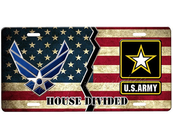 House Divided License Plate Air Force Army License Plate