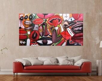 Modern abstract artwork in XXL by Alexander Zerr acrylic on canvas 100x200cm #183