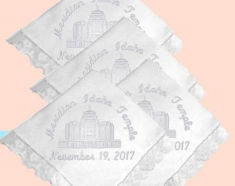 Meridian Idaho Embroidered LDS Temple Dedication Lace Handkerchief