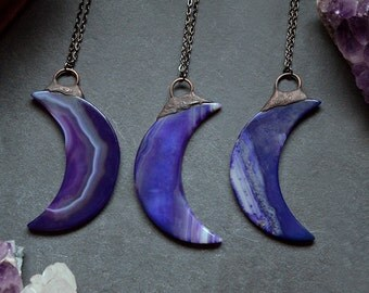 Large Striped Purple Agate Slice Moon Necklace | Antique Copper | Natural stone necklace | Crescent Moon Stone | Stone Necklace