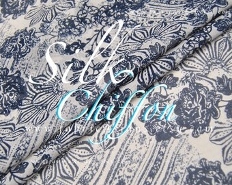 Blue White Silk Chiffon by the yard EXPRESS delivery