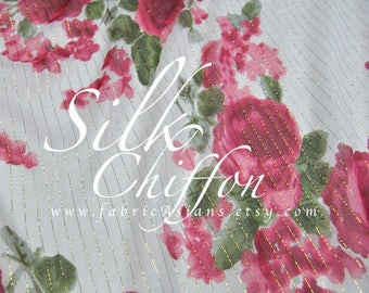 Red Rose White Chiffon Silk