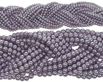 Violet Purple Nacre Pearl, Czech Round Glass Imitation Pearls in 2mm and 4mm