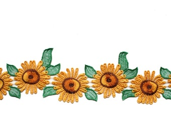 "1"",2"",3"" Yellow/Green /Brown Sunflower Daisy Embroidered Lace Trim Sewing Notions CF4031/2/3 sold by Yard"